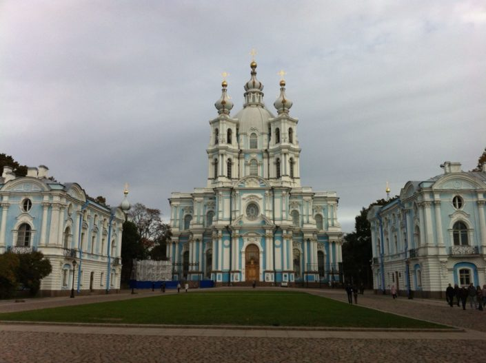 Smolny Cathedral, designed by famous Italian architect Bartolomeo Rastrelli, who also constructed the Winter Palace. The complex of buildings served as a nunnery and school for privileged girls during Russian Empire.