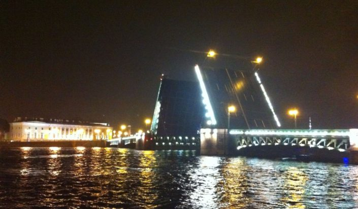 Watch the Neva bridges open during the White nights.