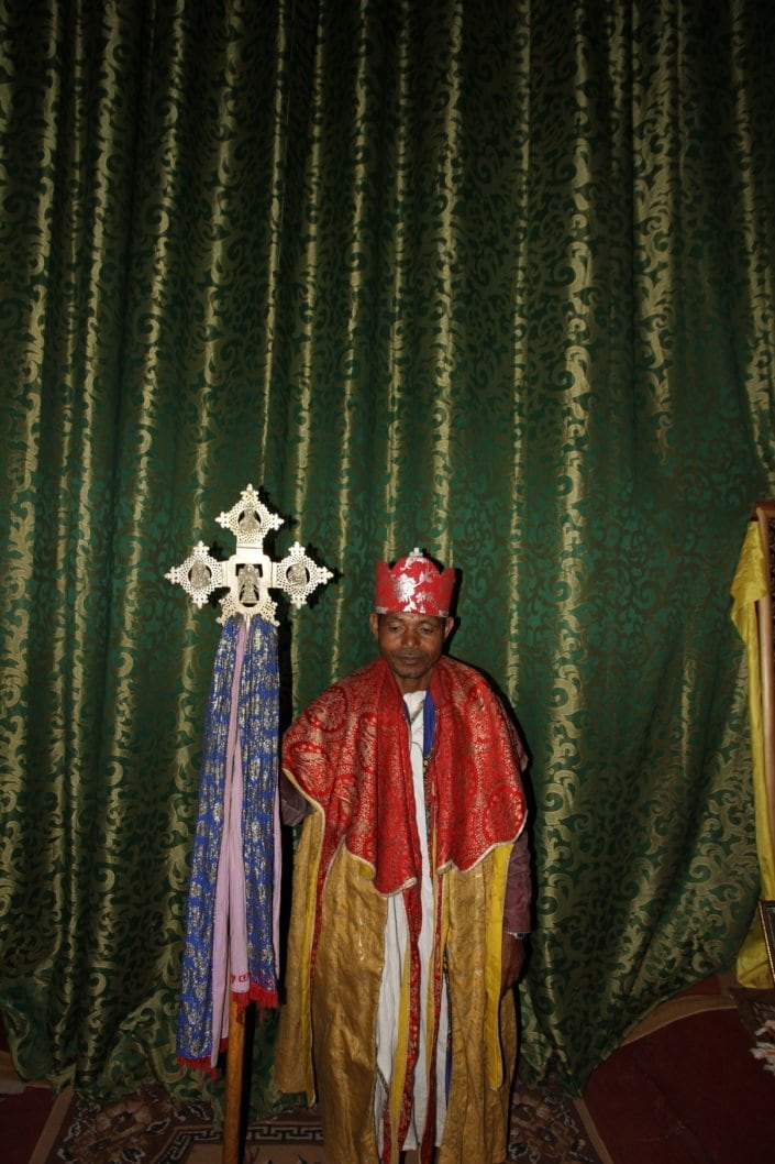 Ethiopian Orthodox priest holding cross
