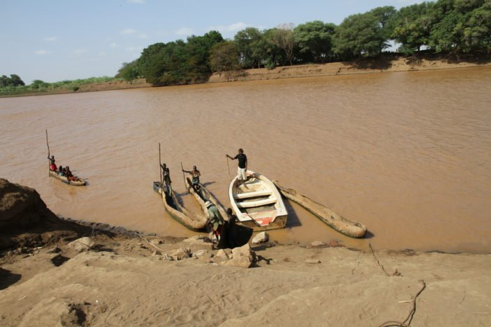 Boats on the river Omo, near Omorate village