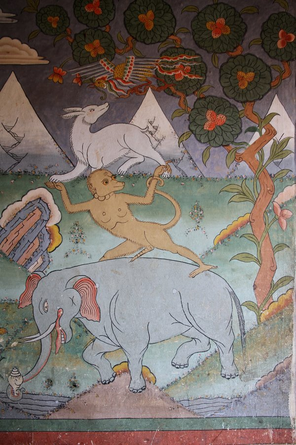 The Thunpa Punshi is the story of four animal friends, an elephant, a monkey. a hare and a partridge working cooperatively to obtain the fruit. This motif is often displayed in homes and monasteries to bring harmony and cooperation.