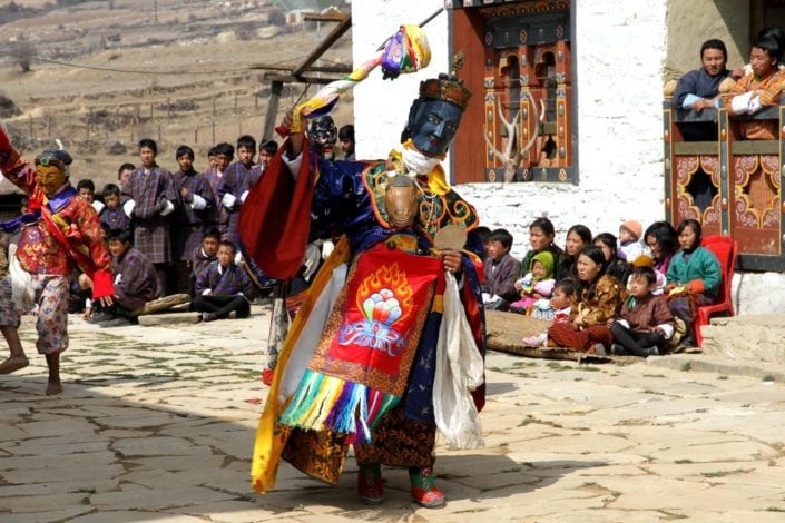 The Cham Dance is a vibrant masked and costumed ritual with roots in Buddhism. Associated with the Tibetan Buddhism that prospered in the Great Himalayan Mountain Range, it is a religious tradition performed by monks. The ritual is performed for the greater good of humanity, destruction of bad spirits and for moral instruction to viewers.