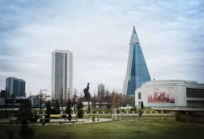 On the right, you can see the Ryaugyong hotel which construction started in 1987 and still isn't finished. The hotel will be used to accommodate all foreign tourists that come to Pyongyang.