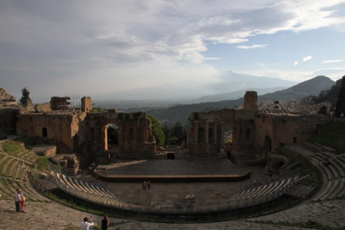 Taormina . Ancient Greek theater of Taormina offers a spectacular views of the sea and Mt.Etna (right side).