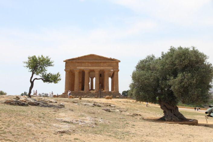 Agrigento's Valle dei Templi . It is one of the best preserved Greek temples, remnant of powerful city of Akragas, founded by Greeks in the 6th century B.C. The site also contains a section of the Roman quarter build after the defeat of Greeks.