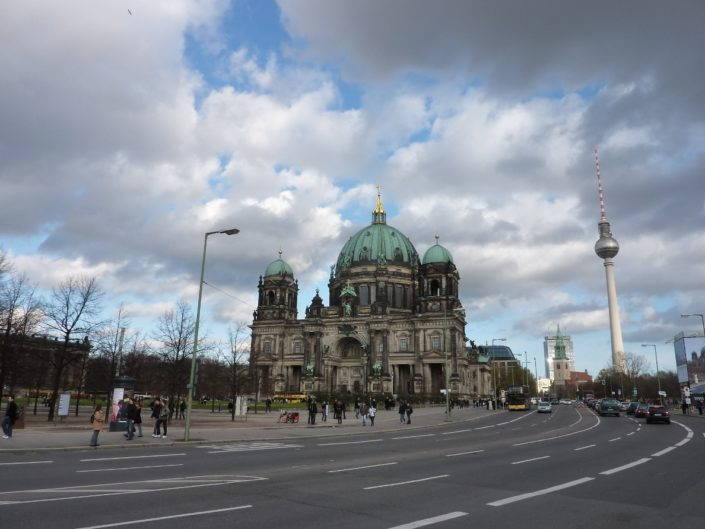 Berliner Dom with the Fernsehturm in the background.