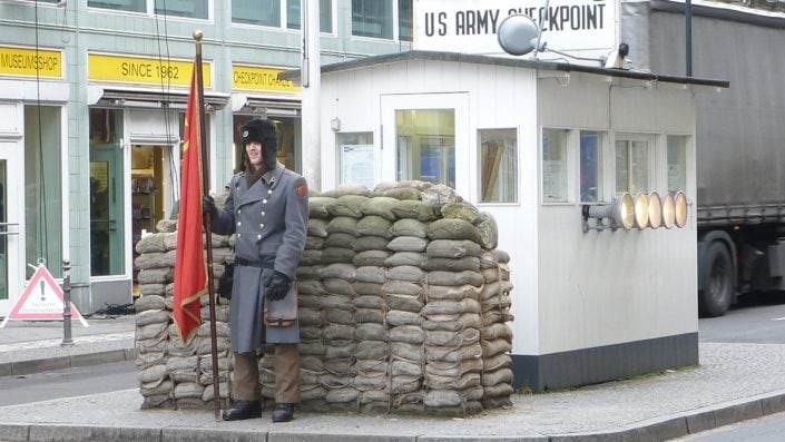 Checkpoint Charlie, is best known border crossing of Cold War days.