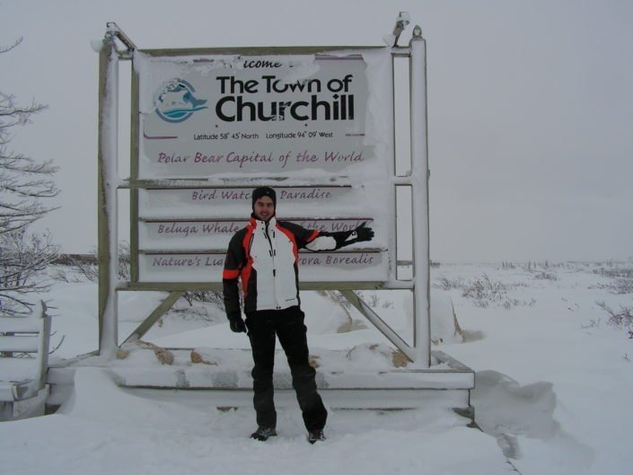 The city of Churchill is located on the Western shore of Hudson Bay and has the largest concentration of polar bears in the world.